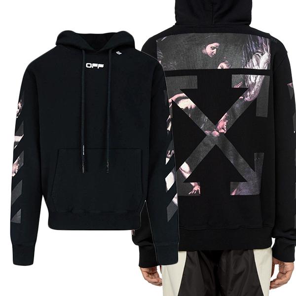 오프화이트 20SS 남성 OMBB034S 20E30004 1088 카라바지오 후드 티셔츠 블랙