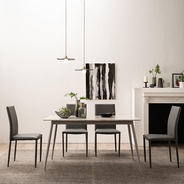 [삼익가구]카린 4인용 대리석 식탁세트(의자4개포함), 그레이