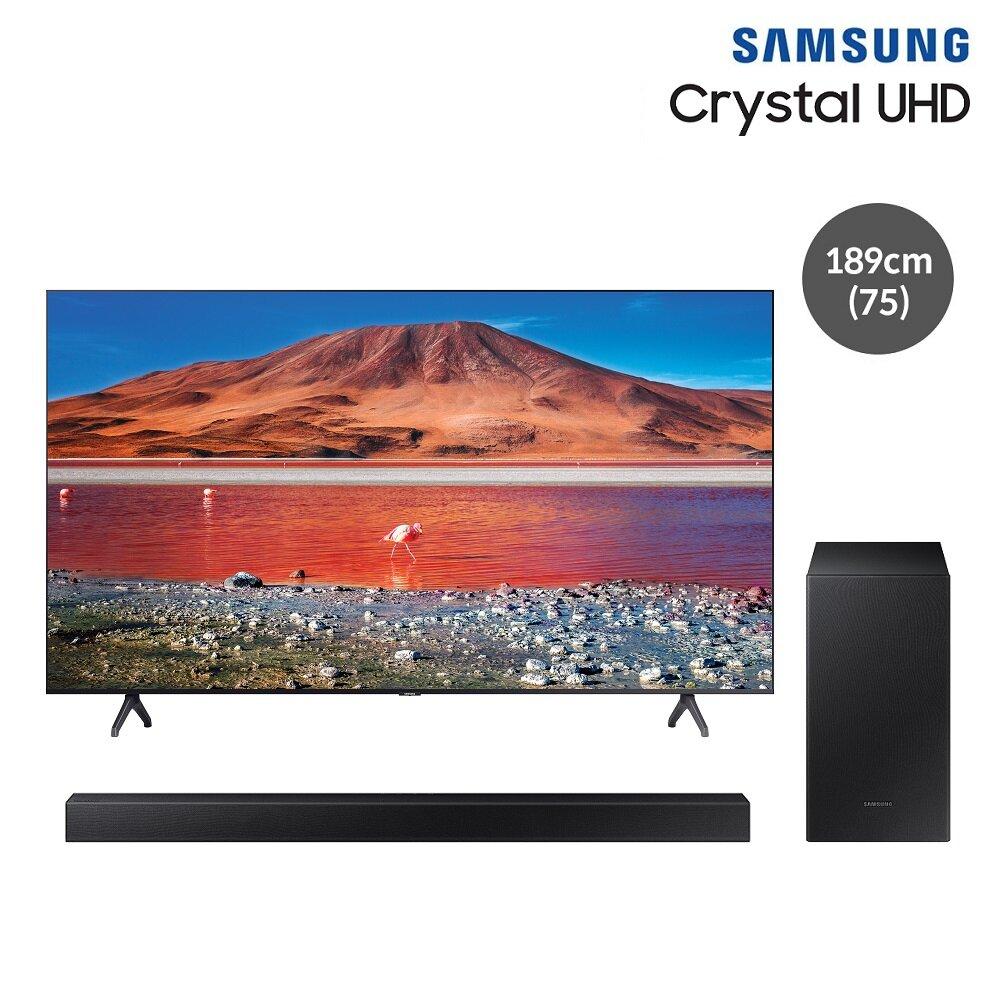 [신세계TV쇼핑][삼성]무료설치 배송!스탠드/벽걸이(+삼성무선사운드바) UHD스마트TV KU75UT7000FXKR (189cm(75)/3등급), 무료설치, 스탠드형