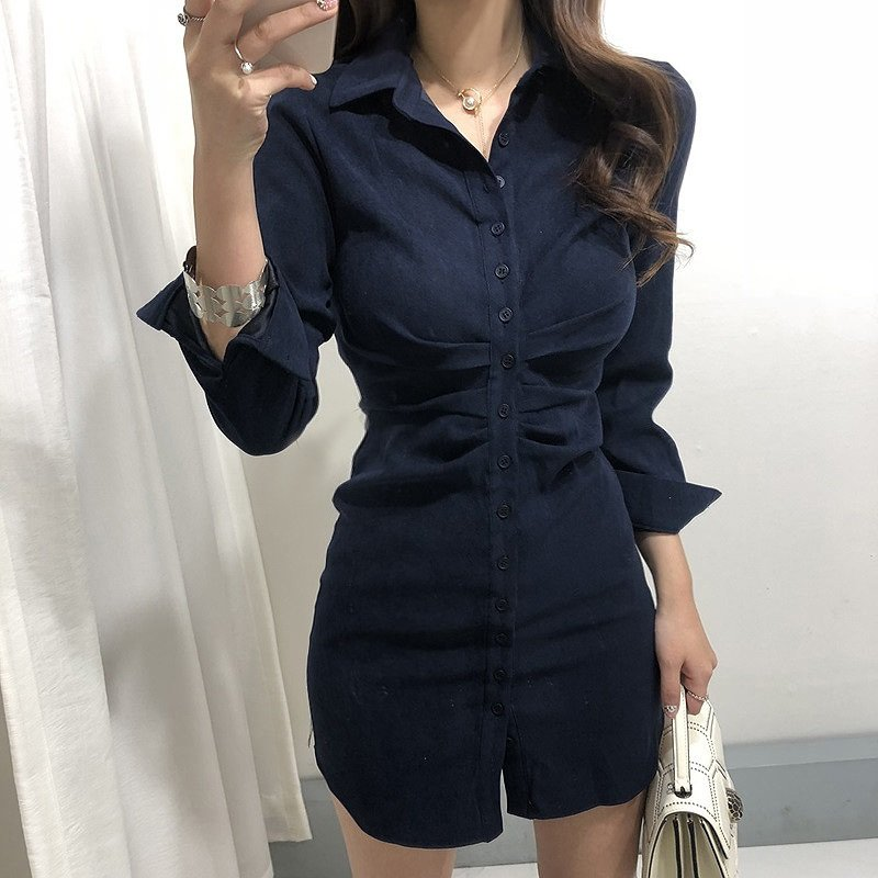 WAWAMOM(특허브랜드) 여성 긴팔 홀복 가을 섹시 정장원피스 자켓 셔츠형 미니원피스 클럽의상 BSQ82hk