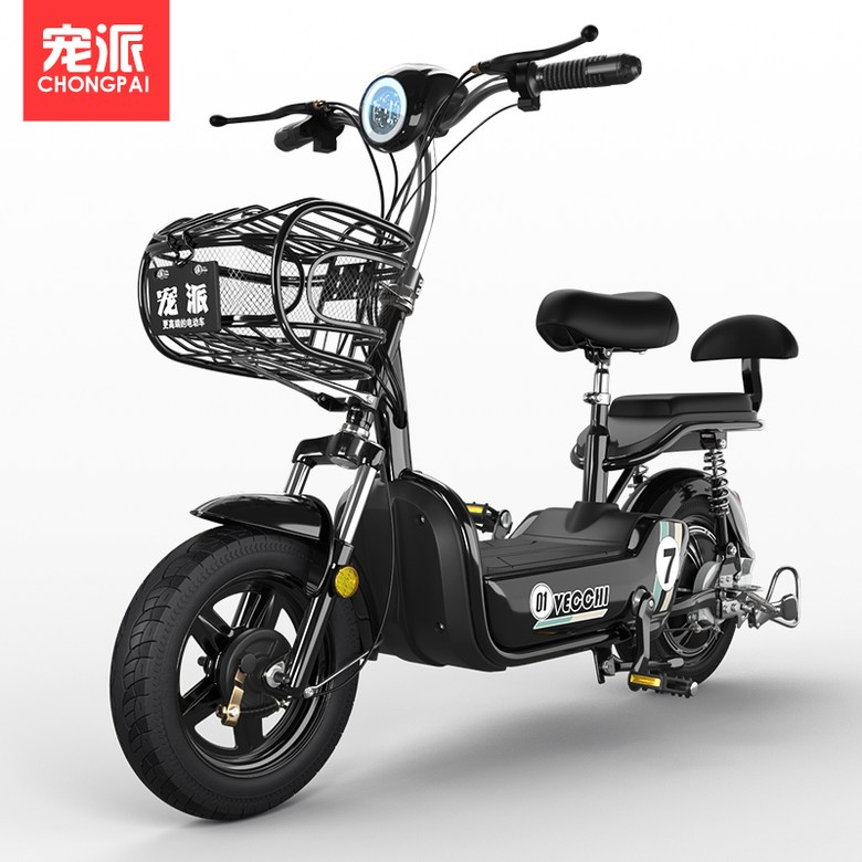 전기자전거 Chongpai 2인용 전동자전거 12Ah 48v 전동스쿠터, 블랙 주행거리50km 12A 납산 배터리