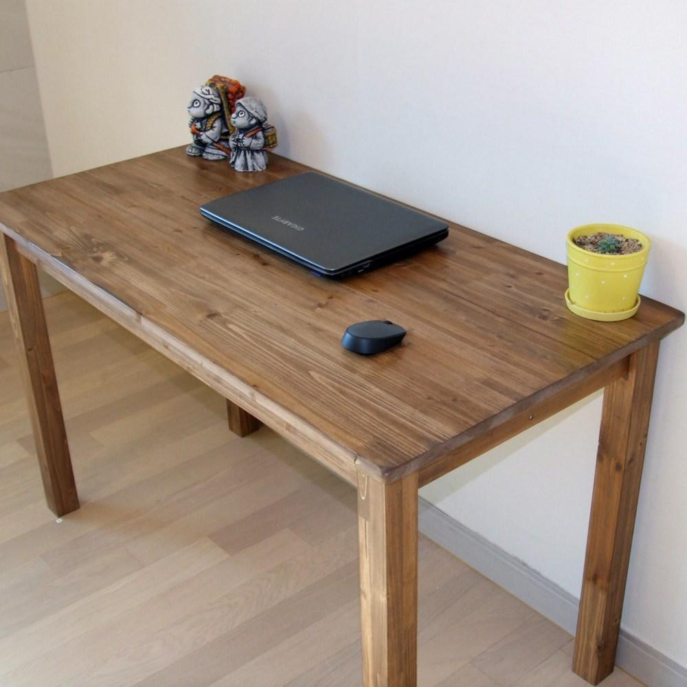 다인가구 삼나무 원목책상(도장월넛) 컴퓨터책상 테이블 통다리 800 1000 1200 1400 1600 1800, 원목책상도장월넛 1000