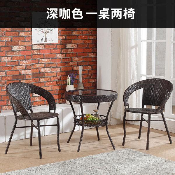 북유럽 티 테이블 세트 라탄 원형 야외 테라스 카페 2, 2 개의 의자 1 개의 테이블 어두운 커피 색깔