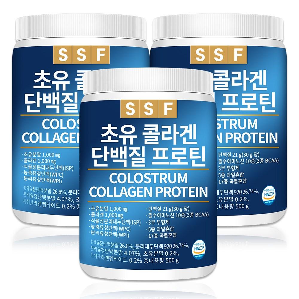 순수식품 초유 콜라겐 단백질 프로틴 쉐이크 3통(1500g) 파우더 분말 가루 보충제, 500g, 3통