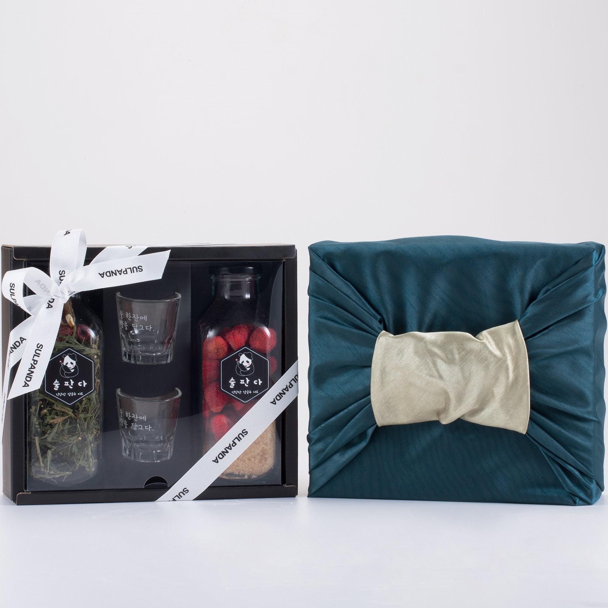 술판다 담금주 키트 2구 잔세트 (500ml x 2), 2병, 야관문주+장미주