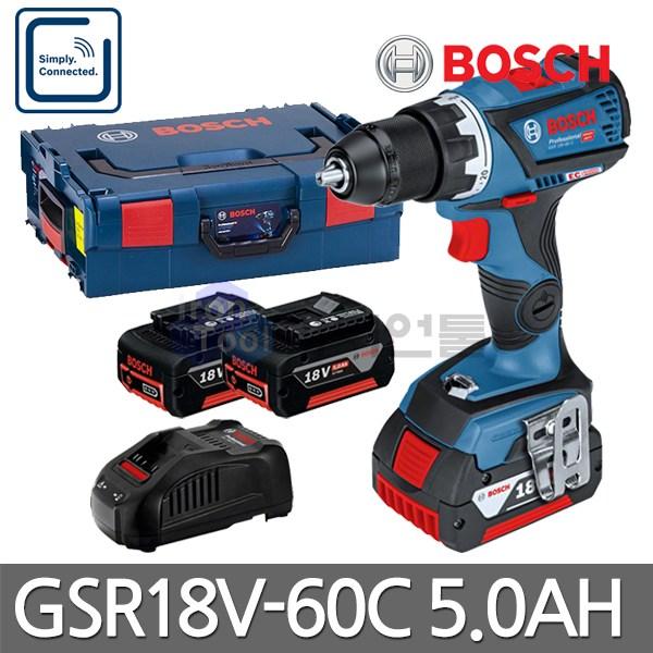 보쉬 충전드릴 GSR18V-60C 5.0Ah 배터리2개 블루투스기능, 단품