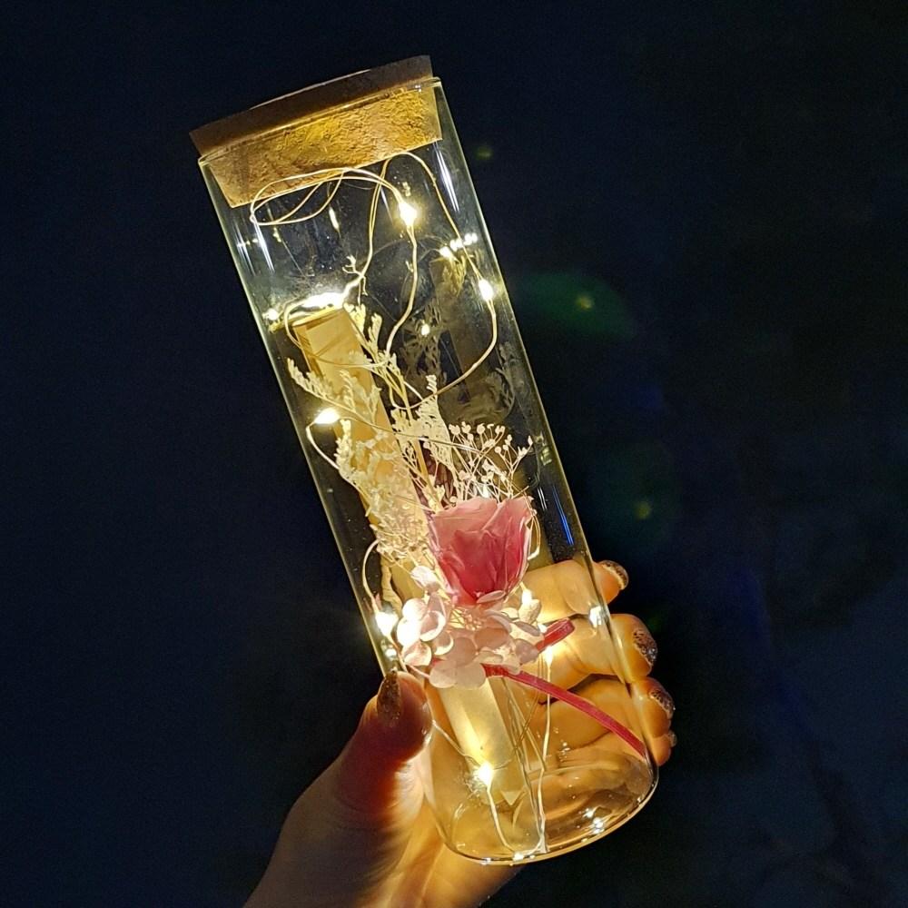 [라알레그리아] 특별한 편지지 세트 꽃 LED 특이한 유리병편지 생일 크리스마스 선물 여자친구 결혼 100일 기념일 감동 키스데이, 분홍 장미(프리저브드), 1세트