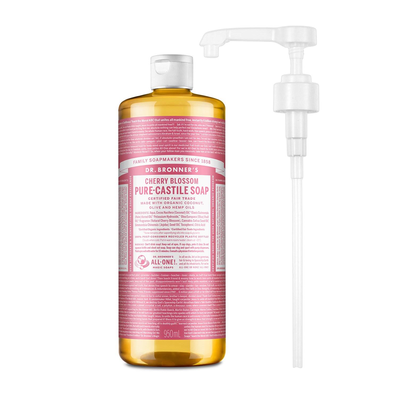 닥터브로너스 퓨어 캐스틸 솝 체리블라썸 950ml + 전용펌프, 단품