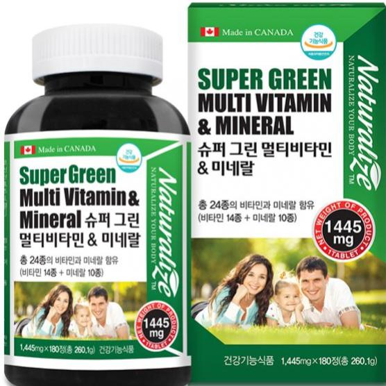 온가족 남성 여성 40대 50대 60대 멀티비타민 미네랄 종합영양제 칼슘 마그네슘 아연 비타민D 영양제 베타카로틴 판토텐산 비타민A 비타민E 비타민B 함유 180정 x 2병 대용량 (POP 5751006225)