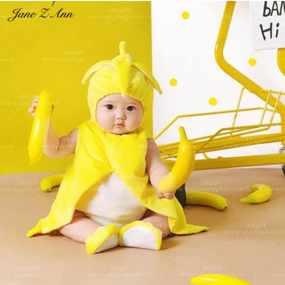 Delkien 완전 귀여운 바나나 디자인 신생아 유아 사진촬영 / 코스튬 의상세트 모자+롬퍼+조끼+양말