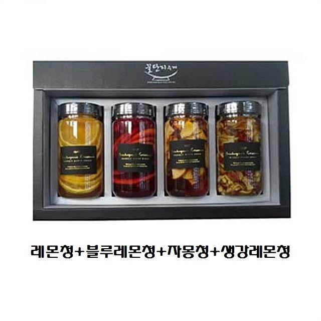 레몬+블루레몬+자몽청+생강레몬청 선물세트 답례품 꿀단지 매실청 명절 행사 수제청, 1, 본상품선택