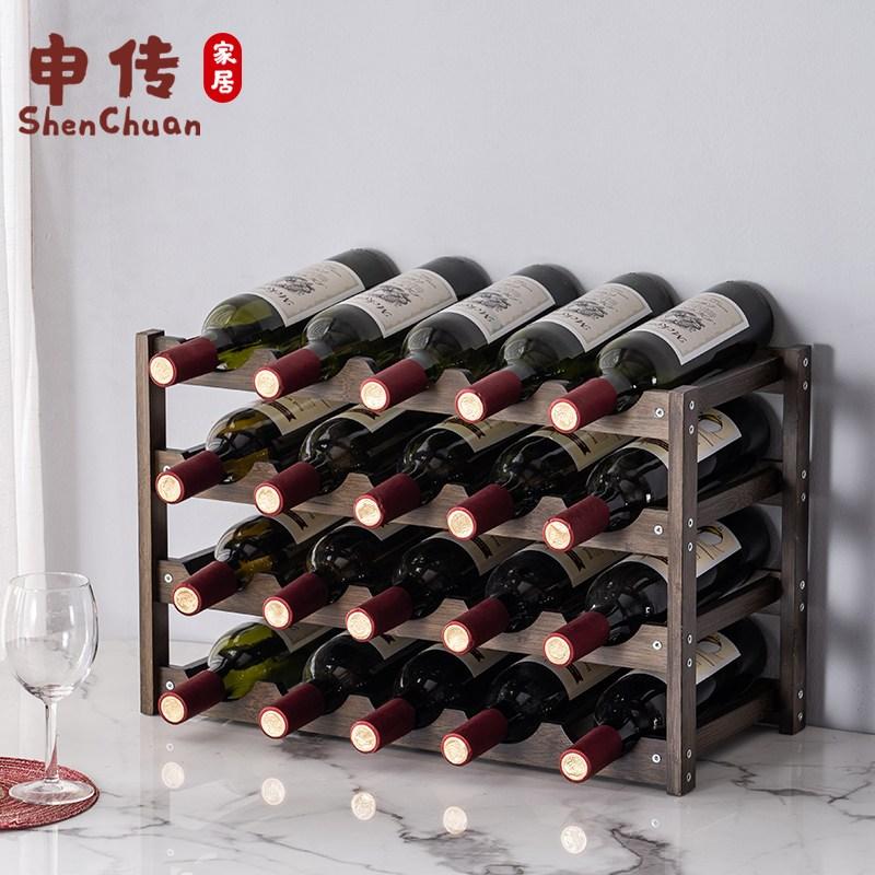 와이너리 와인 원목 거치대 보관함 렉 꽂이 진열대, 2 단 6 병