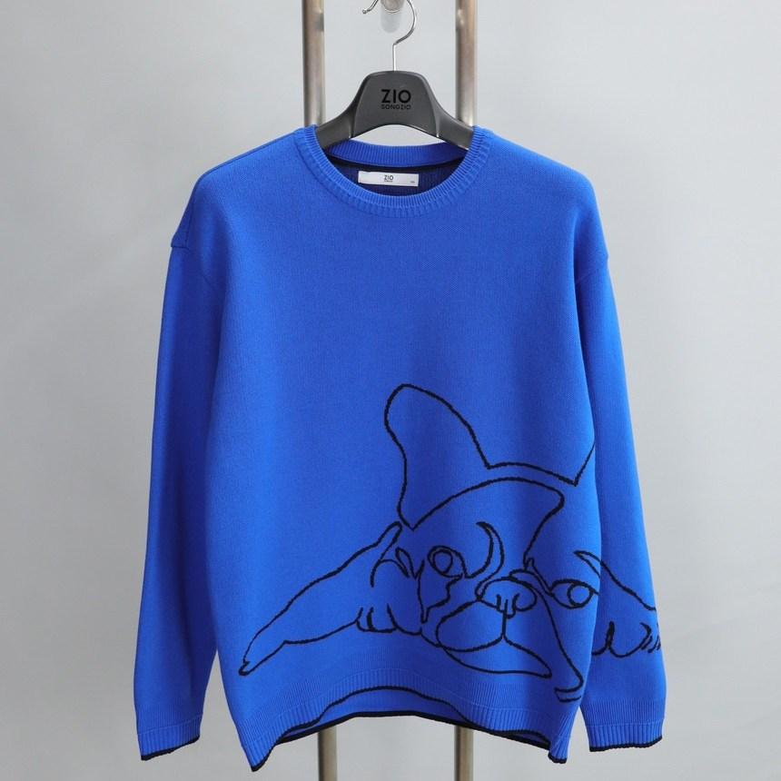 지오송지오 ZVS51617 블루 불독 드로잉 디자인 니트 티셔츠