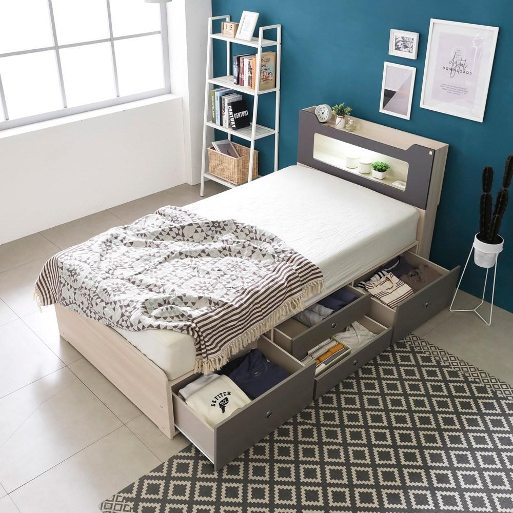 동서가구 스텔라 LED 수납헤드 4서랍 침대 슈퍼싱글+오가닉3D 멀티라텍스탑 7존독립매트, 워시그레이