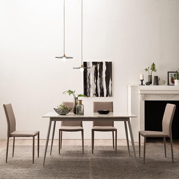 [삼익가구]카린 4인용 대리석 식탁세트(의자4개포함), 베이지