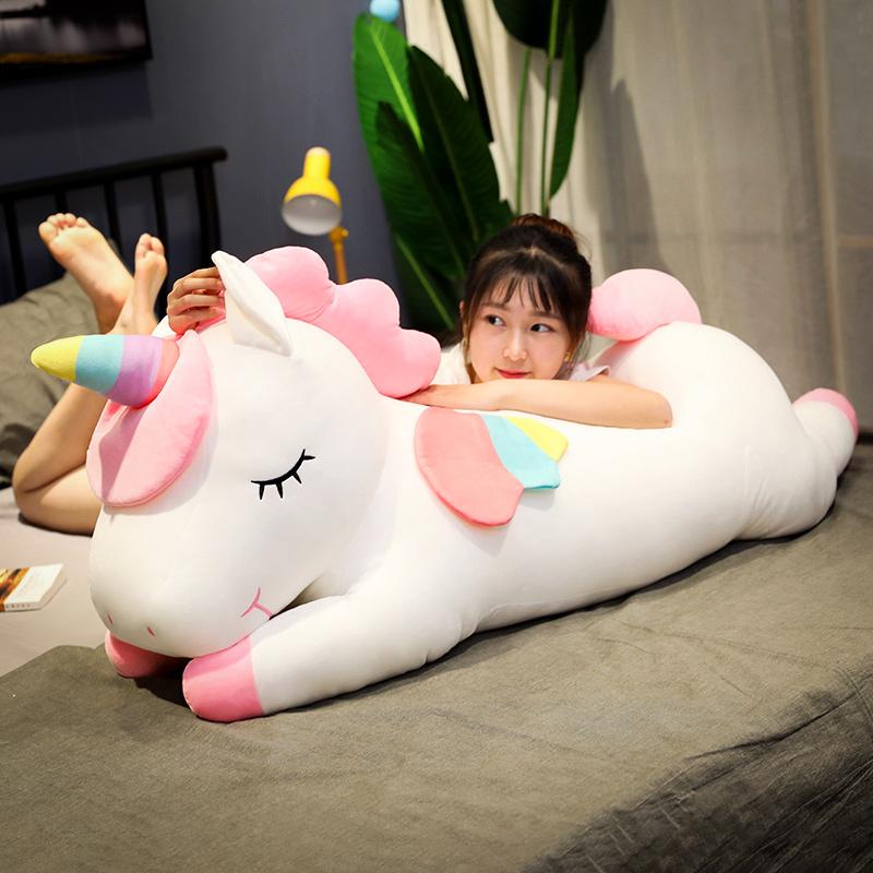 푹신푹신 유니콘 인형 쿠션 바디필로우 60cm, 핑크