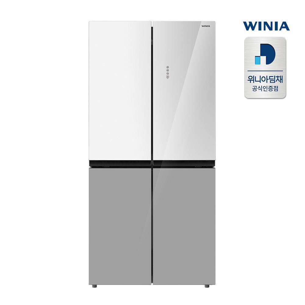 [인증점] 위니아딤채 컬러글래스 4도어 479L 세미빌트인 냉장고 ERB48DWG