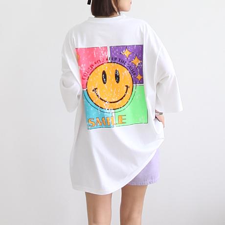 애플망고샵 컬러 스마일 롱박스 루즈핏 롱티 오버핏 레터링 프린팅 여성 빅사이즈 반소매 반팔 티셔츠