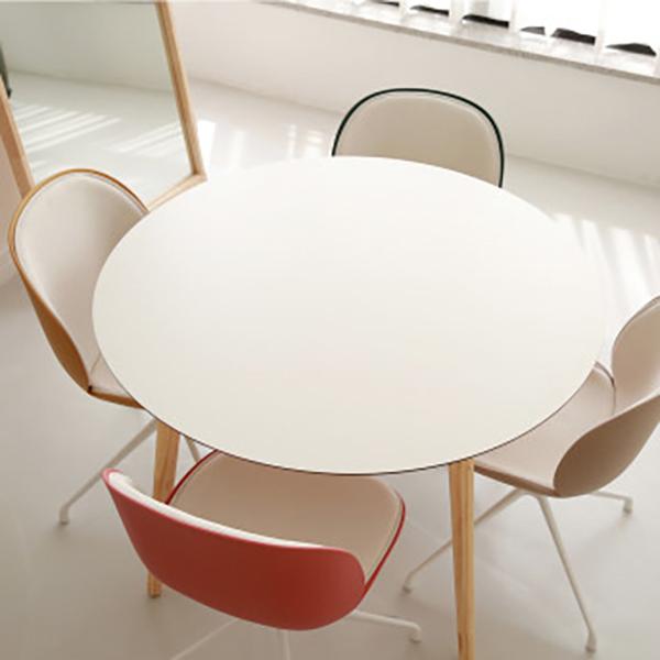 체나레 HPM 멜라민 원형 화이트 카페 식탁 800 테이블, 내추럴