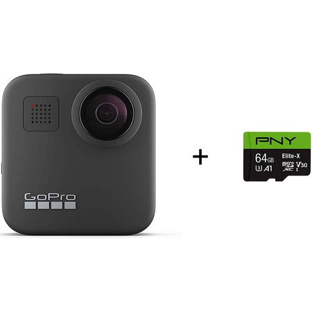 GoPro MAX-방수 360 + 기존 카메라 + PNY Elite-X 64GB U3 microSDHC 카드 (번들) PROD1110000767, 상세 설명 참조0