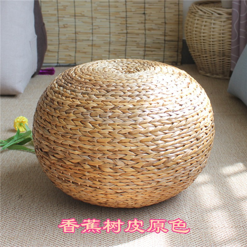 스툴 천연 라탄 구형 낮은의자 짚으로엮음 걸상 거실 의자 아이디어 특색 식당, T02-바나나나무 피원색(직경 38높이 30cm)