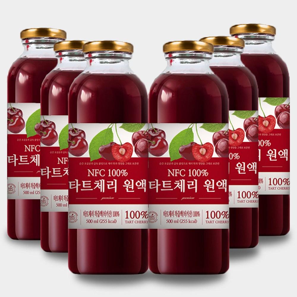 큰나무 100% NFC 착즙 몽모랑시 타트체리 쥬스 원액 주스, 6병, 500ml
