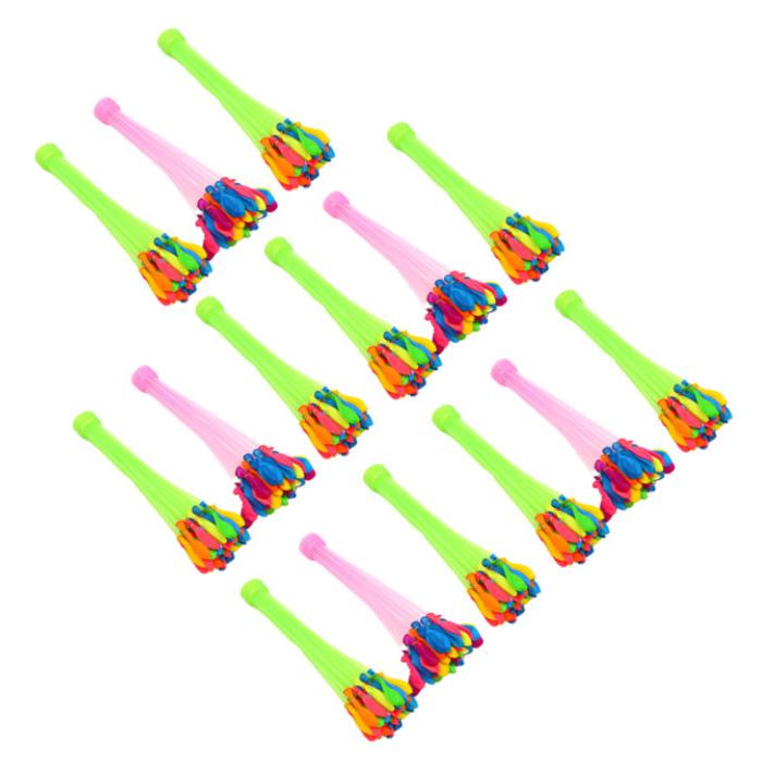 자동 물풍선 제조기 37p*15세트 555개 다발 물폭탄 유아 물풍선 만들기 장난감 세트 물놀이 놀이 필수품 각종 행사용 워터 벌룬 제조기, 15세트, 혼합색상 (POP 5602396973)