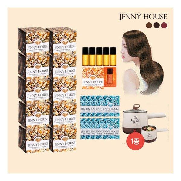 [제니하우스] 2020 최신상 일루미네이션 염색제 패키지(염색제 10박스+트리트먼트 10, 색상:와인브라운