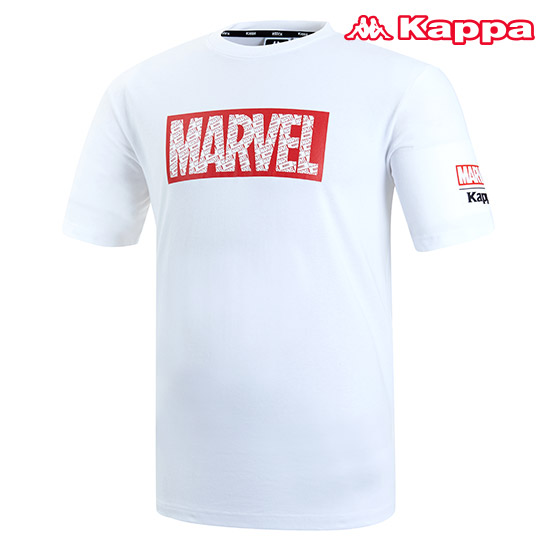 카파 남성 마블 콜라보레이션 반팔 티셔츠 KJRS221MN_WHT