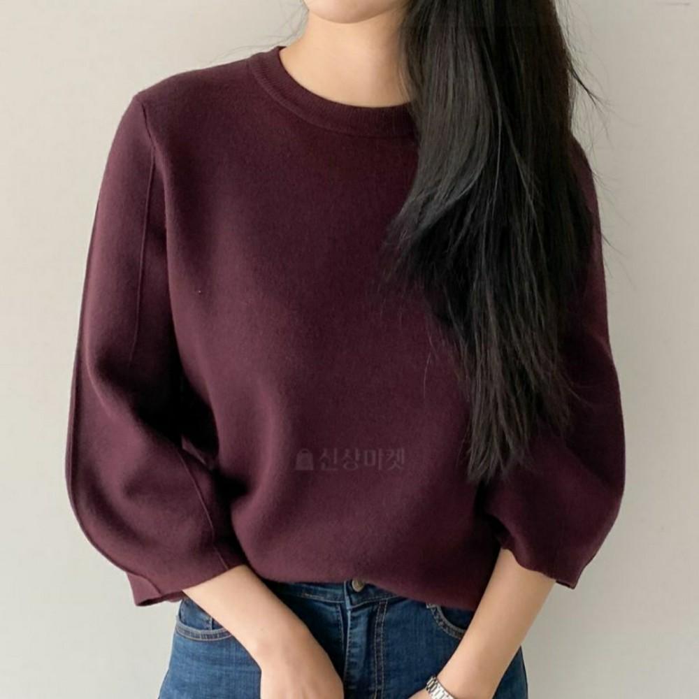 오드리쇼룸 라운드넥 핀턱 퍼프 7부소매 니트 티셔츠