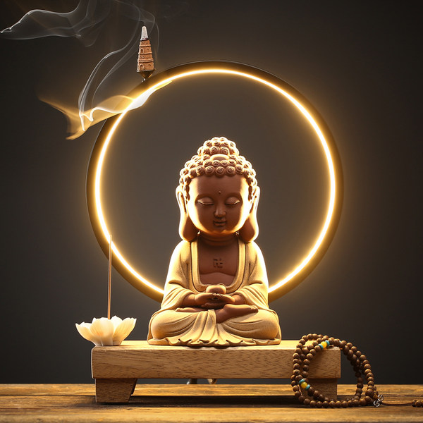 부처님 동상 장식 풍수 데스크탑 장식 가정용 불상 석가모니 아미타불 부처님상 LED, Baosheng 부처님 장식품 (등 링 포함) 염주 + 손으로 짠 꽃 향 삽입