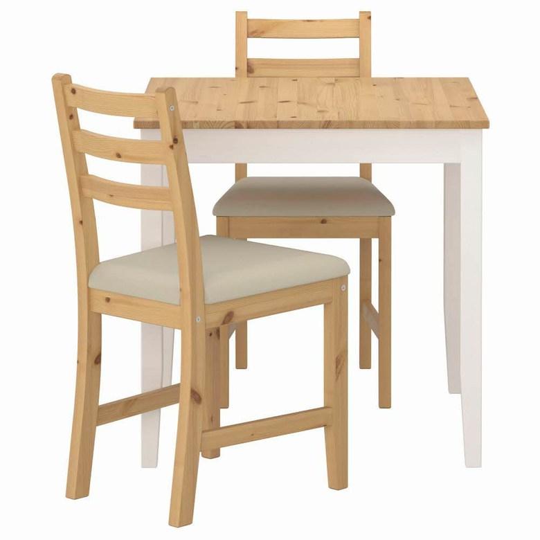 테이블+의자2 라이트 앤티크 스테인 화이트 스테인 비타뤼드 베이지 LERHAMN 74x74 cm, 기본
