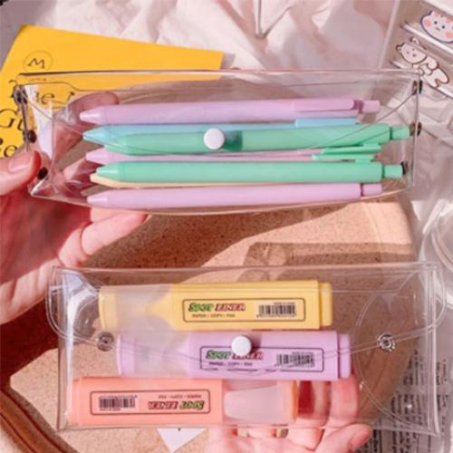 체크히어 투명 PVC 버튼형 하도메 파우치 투명 필통 케이스, 소