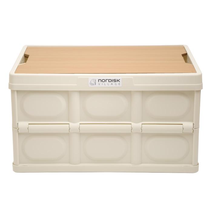 소소일상 접이식 캠핑 폴딩박스 우드 테이블 감성캠핑 수납장 트렁크정리함 리빙박스, 폴딩박스 크림화이트/ 애쉬