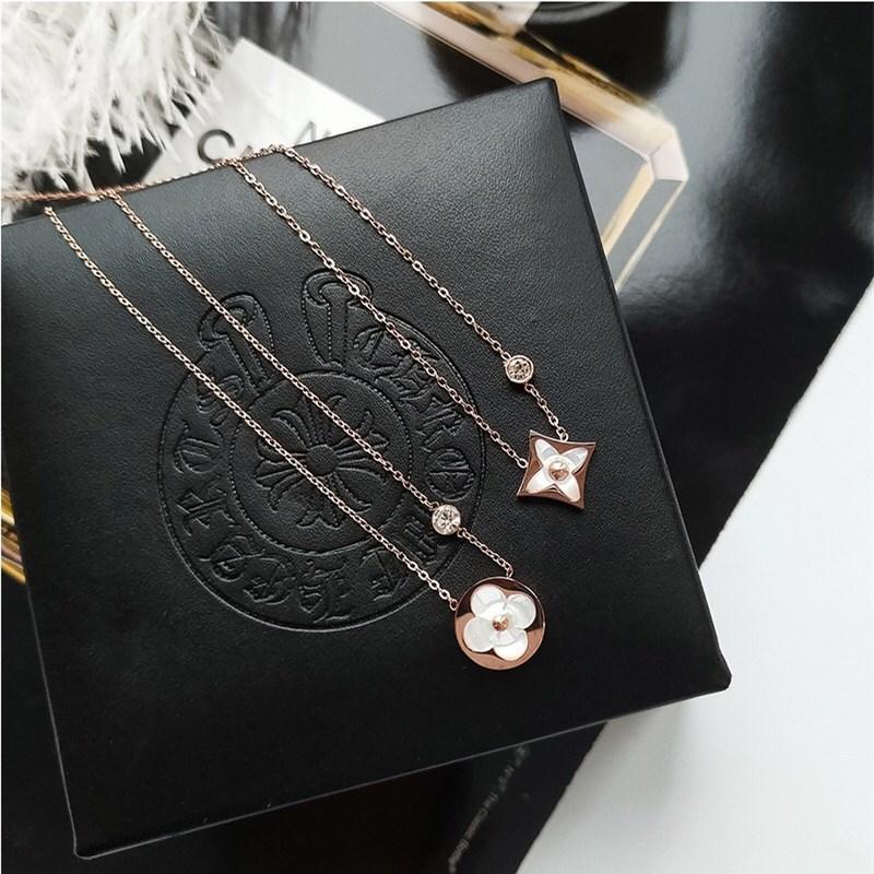 영쥬얼리 N0097 루이비 명품스타일 LV 자개 꽃무늬 드롭 목걸이 써지컬스틸 18K 도금로즈골드