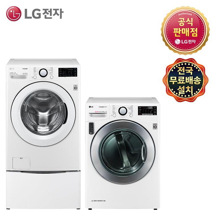 LG 트롬 [F19WDBM-6AN] F19WDBUM+RH16WNAN 세탁기 건조기세트 (주)삼정