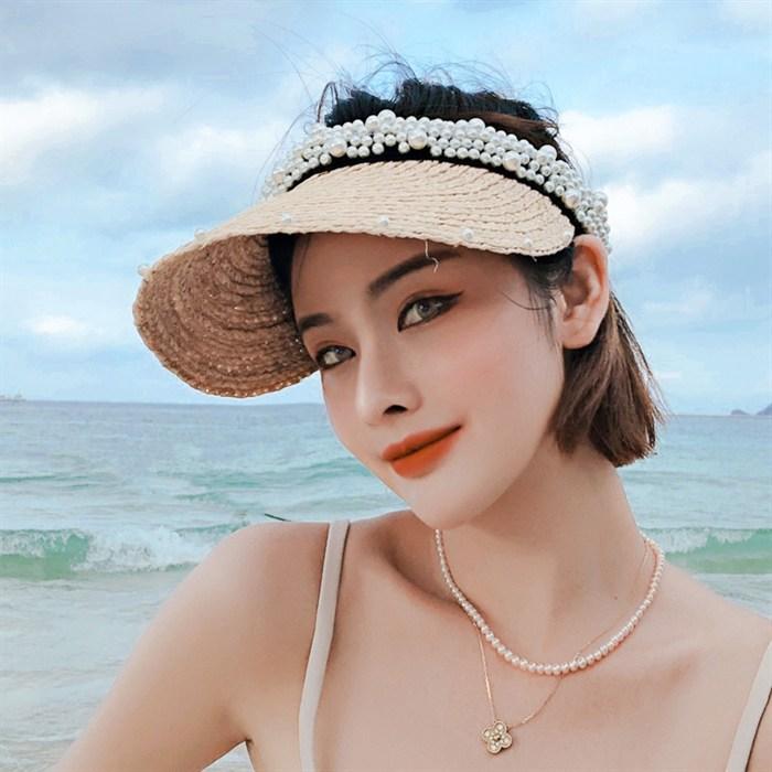 진주 빈 왕골 밀짚벙거지 모자 라피아 여성의 작은 넓은챙 수입 천연 패션 여름 토플리스 조수