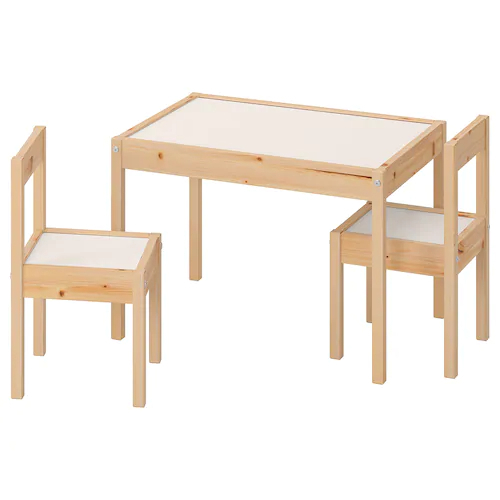 이케아 LATT 어린이테이블+의자2개세트 유아테이블 유아의자, 내추럴&화이트