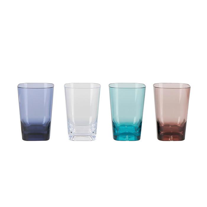 업소용 PC 물컵 음료수 주스 카페용 투명 안깨지는 컵, 사각컵-LC7, 그린