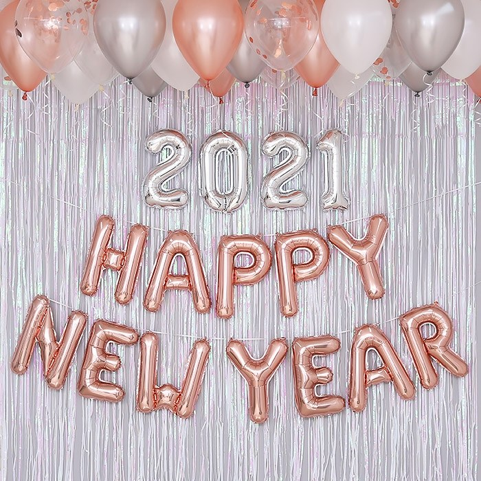 HAPPY NEW YEAR 홈파티 풍선 장식세트, 선택안함, 로즈골드