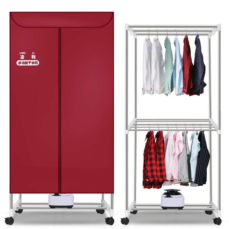 Lingli 대용량 건조기 가정용 빨래건조기 의류 건조기, 와인 레드_소형