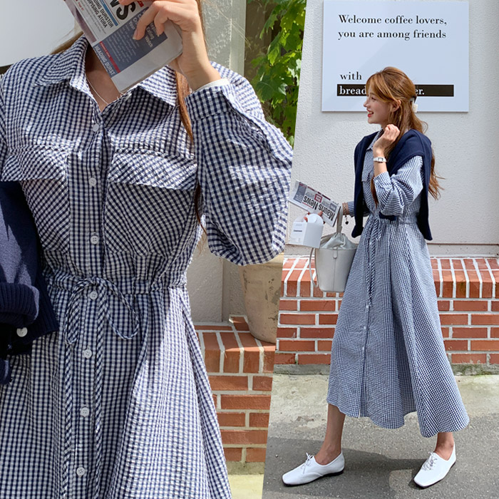 온더리버 109546 포엠 체크 셔츠 플레어 롱 원피스 셔츠원피스 여성 가을 카라넥 카라원피스 롱원피스