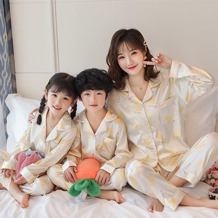 친자 가족 패밀리 실크 잠옷 사계절용 홈실내 파자마