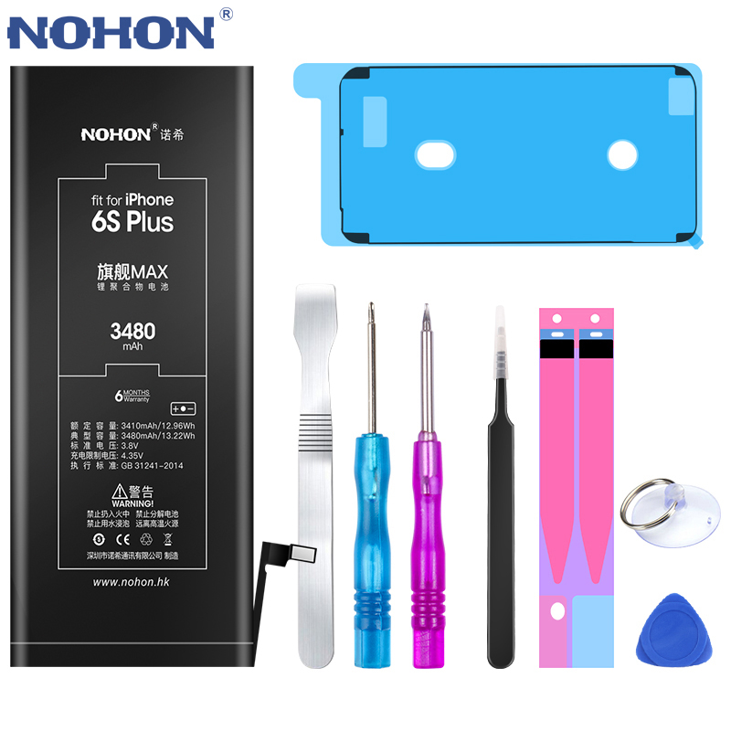 NOHON 노혼 Battery 대 한 iPhone X XR XS 8 8Plus 7 7Plus 6 초 Plus SE 5 5C Max Capacity 교체, For iPhone 6S Plus 3480mAh