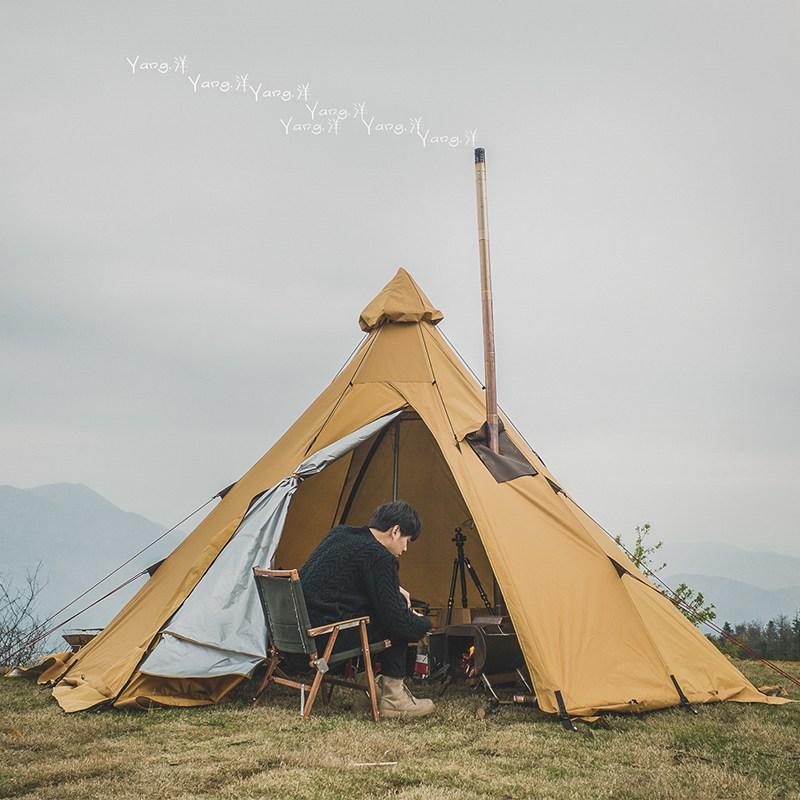 바퀴달린집 라미란 감성 인디언 티피 텐트 캠핑, TC 테크니컬 코튼 천 (375x292cm) (캐노피 + 1 2m 폴)