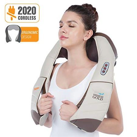 Hueplus CORDZERO-5500 무선 프리미엄 지압 등받이 목 및 어깨 마사지기 가열 된 3D 텐션 기술이 적용된, 상세 설명 참조0