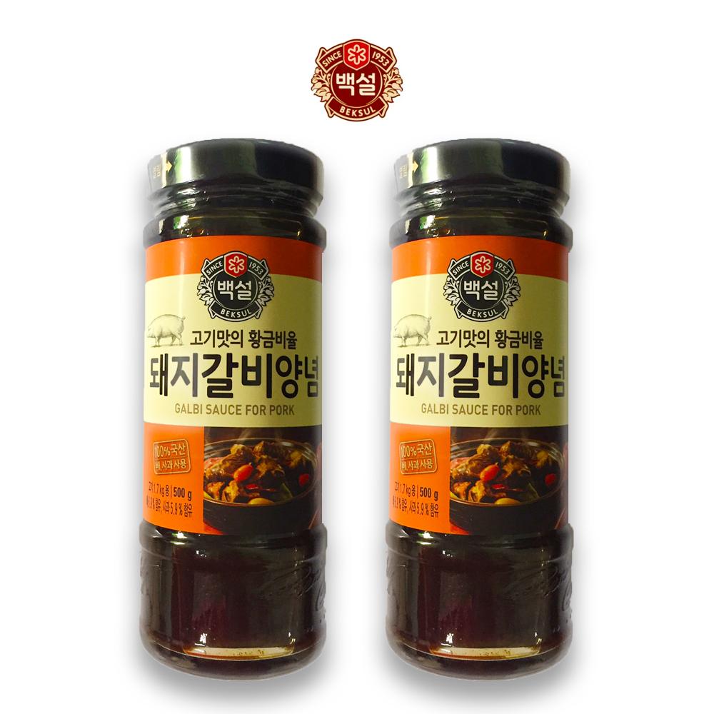 예이니식품 CJ 백설 돼지갈비 양념 2개(500gx2개) 여행간편요리소스조림볶음, 500g, 2개