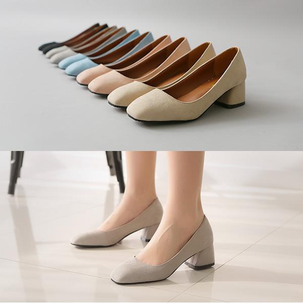 여성 둥근코 미들 힐 펌프스 하이힐 여자 구두 신발