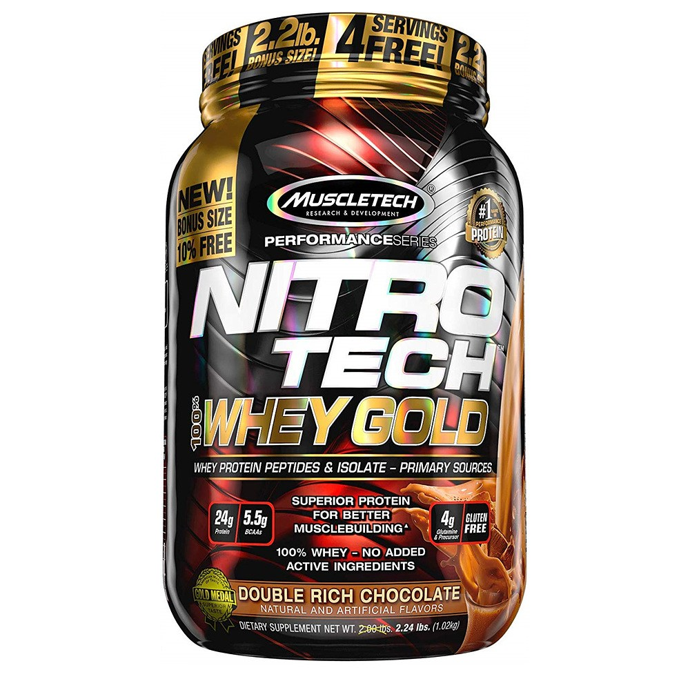 MuscleTech 머슬텍 니트로 테크 웨이 골드 1.02kg 더블 리치 초콜릿 프로틴 NitroTech Whey Gold, 1개, 1
