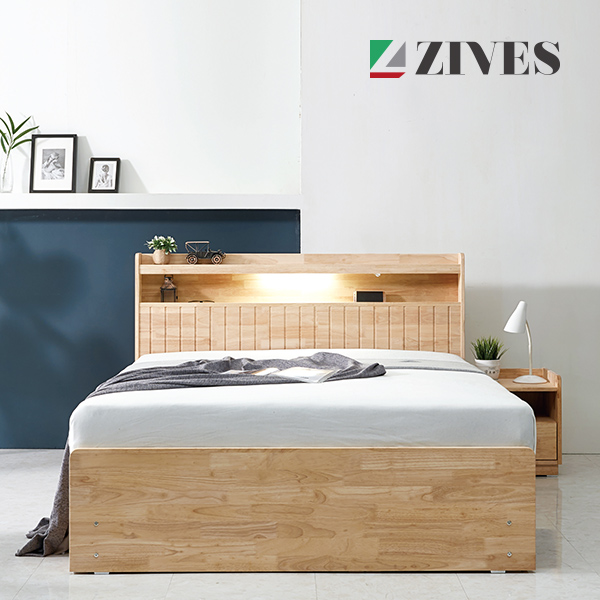 [지베스] 오스카 LED 원목 4단 침대 Q_독립매트리스, 고무나무